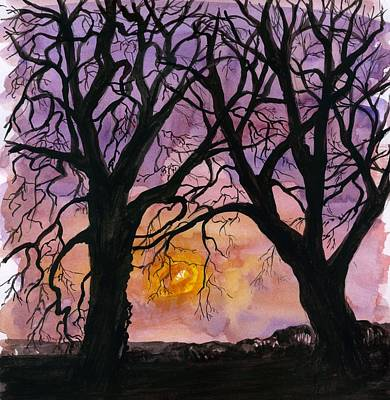 Painting - Sunset  Tree Silhouettes  by Wendy Le Ber