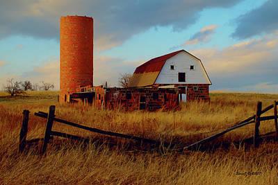 Art Print featuring the photograph Sunset Silo Barn by Stephen  Johnson