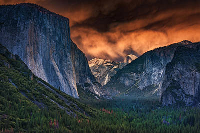 Cathedral Rock Photograph - Sunset Skies Over Yosemite Valley by Rick Berk