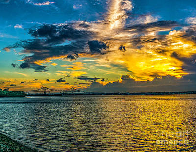 Photograph - Sunset Sky At The Commodore Barry by Nick Zelinsky