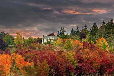Rural Photograph - Sunset Sky Over Farm House In Rural Oregon by David Gn