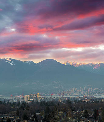 Photograph - Sunset Sky Over Port Of Vancouver Bc by David Gn