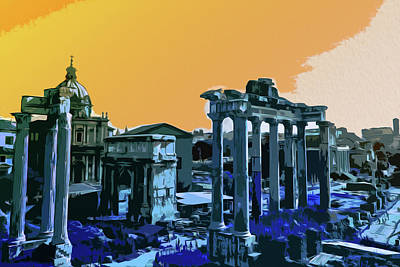 Painting - Sunset Sky Over The Eternal City, Rome by Andrea Mazzocchetti