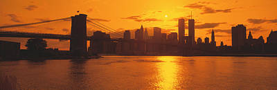 Municipality Photograph - Sunset Skyline New York City Ny Usa by Panoramic Images