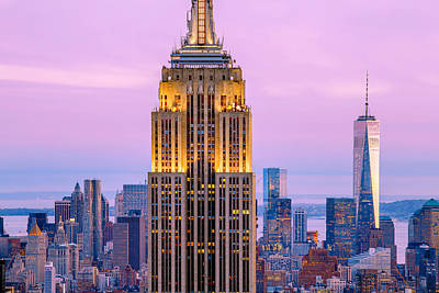 New York Skyline Photograph - Sunset Skyscrapers by Az Jackson