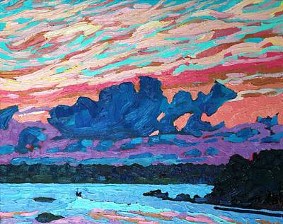 Summer Thunderstorm Painting - Sunset Snails by Phil Chadwick