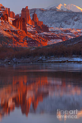 Moenkopi Sandstone Photograph - Sunset Snow Caps And Towers by Adam Jewell
