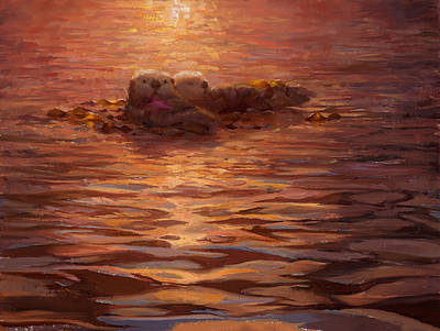 Otter Painting - Sunset Snuggle - Sea Otters Floating With Kelp At Dusk by Karen Whitworth