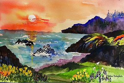 Painting - Sunset Sonoma Coast  by Esther Woods