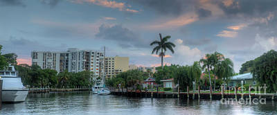 Photograph - sunset South Florida canal by Ules Barnwell