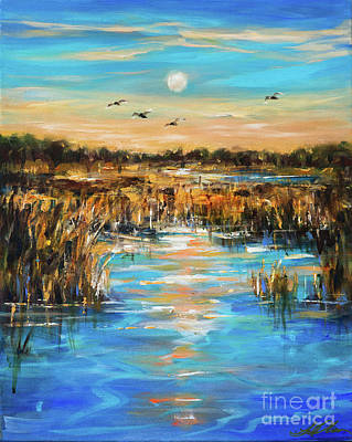 Painting - Sunset Southern Waterway by Linda Olsen