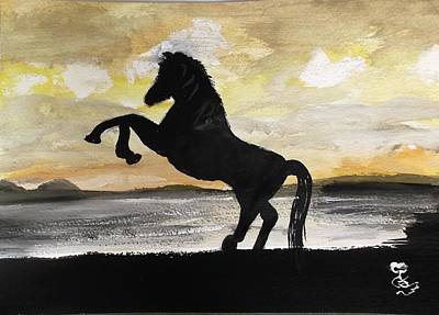 Painting - Sunset Stallion by Carole Robins