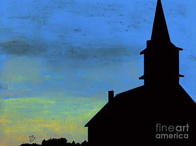 Drawing - Sunset Steeple by D Hackett