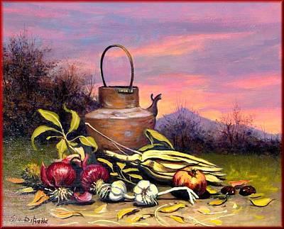 A Summer Evening Landscape Painting - Sunset Still Life by Dibatte
