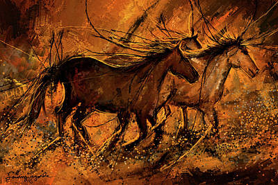 Painting - Sunset Stride - Horses In The Wild Sepia Painting by Lourry Legarde