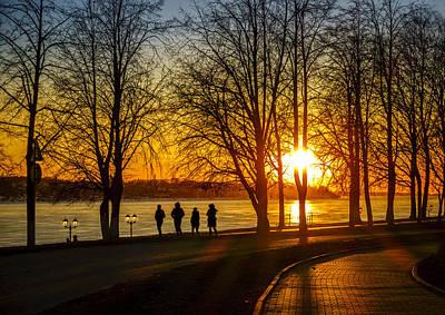 Riverwalk Photograph - Sunset Stroll by Alexey Stiop