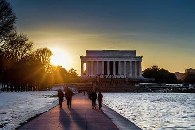 Photograph - Sunset Stroll At The Lincoln Memorial by Karen Jorstad