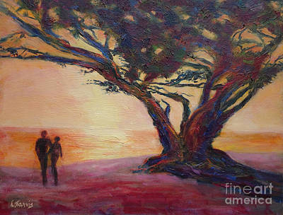 Painting - Sunset Stroll by Carolyn Jarvis