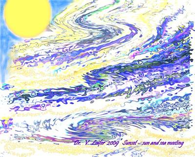 Sunset-sun And Sea Meeting Art Print by Dr Loifer Vladimir