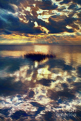 Painting - Sunset Sunbeams On Pamlico Sound Outer Banks Ap by Dan Carmichael