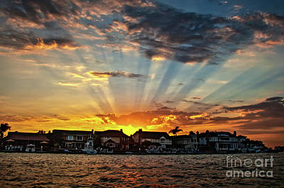 Photograph - Sunset Sunrays Over Huntington Harbour by Peter Dang