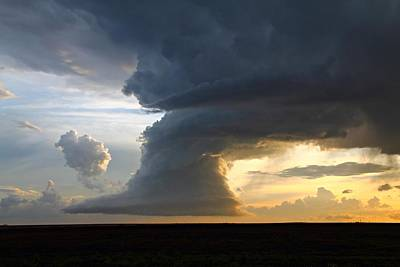 Thunderstorm Photograph - Sunset Supercell #1 by Marcelo Albuquerque