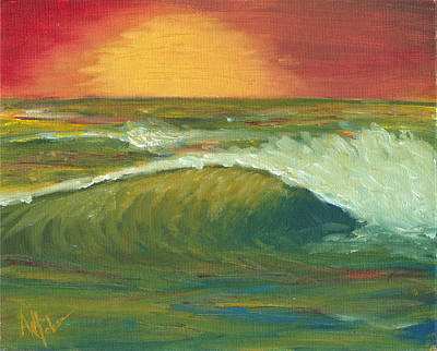 Painting - Sunset Surf by Adam Johnson