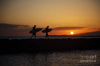 Sunset Surfers Art Print by Brandon Tabiolo - Printscapes