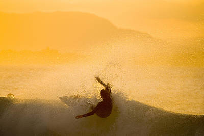 Byron Bay Photograph - Sunset Surfing At The Pass by Greg Elms
