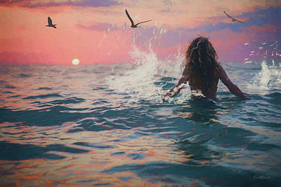 Painting - Sunset Swim - Painting by Ericamaxine Price