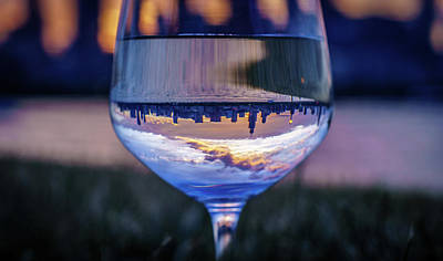 Night Photograph - Sunset Through A Wine Gass by Med Studio