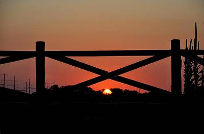 Photograph - Sunset Through The Fence by Andrew Dinh
