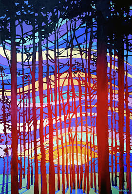 Wall Art - Painting - Sunset Through The Trees  by Alison Newth