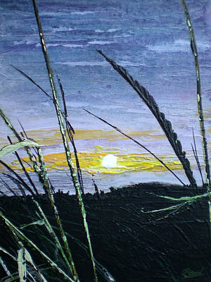 Sunset Through The Weeds Art Print by Bill Brown