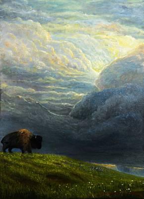 Sunset Thunderstorm - American Bison Original by Tenzin Tamding