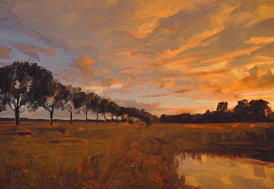 Painting - Sunset Tilburg by Nop Briex