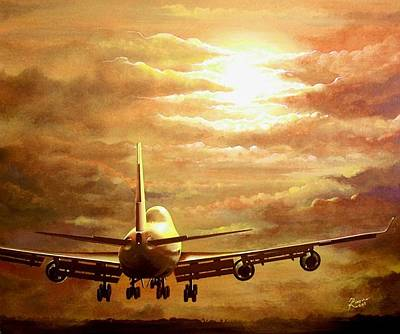 Acrylic Wall Art - Painting - Sunset Touchdown by Peter Ring Sr