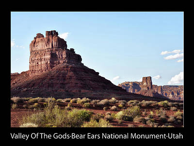 Photograph - Sunset Tour Valley Of The Gods Utah Text 03 Black by Thomas Woolworth