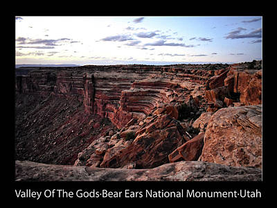 Photograph - Sunset Tour Valley Of The Gods Utah Text 06 Black by Thomas Woolworth