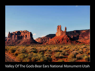 Photograph - Sunset Tour Valley Of The Gods Utah Text 09 Black by Thomas Woolworth