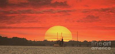 Sunset Trawler Art Print