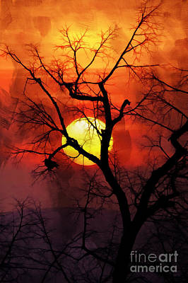 Fineart Painting - Sunset Tree 01 by Gull G