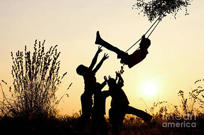 Photograph - Sunset Tree Swing by Tim Gainey