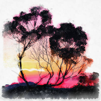 Painting - Sunset Trees Watercolor Painting by Unsplash Andrew Haimerl