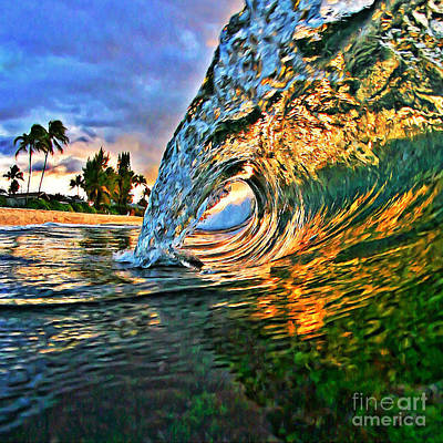 Laniakea Beach Photograph - Sunset Tube - Square by Paul Topp