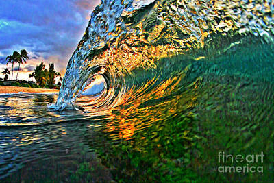 Surfing Art Painting - Sunset Tube by Paul Topp