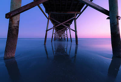 Photograph - Sunset Under A Fishing Pier On The Atlantic Ocean In North Carolina by Ranjay Mitra