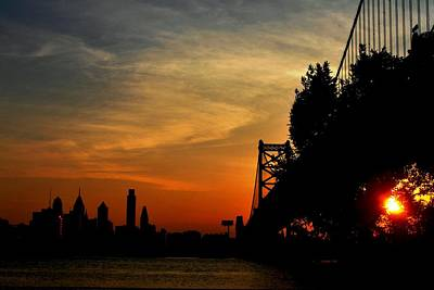 Photograph - Sunset Under Ben Franklin Bridge Philadelphia Skyline View by Matt Harang