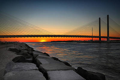 Bay Bridge Photograph - Sunset Under The Indian River Inlet Bridge by Bill Swartwout