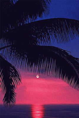Painting - Sunset Under The Palm by Andrea Mazzocchetti